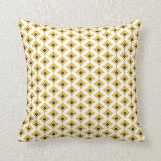 Senap, marin & geometrisk dekorativ kudde 16x16