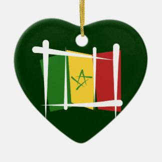 Senegal borstar flagga julgransprydnad keramik