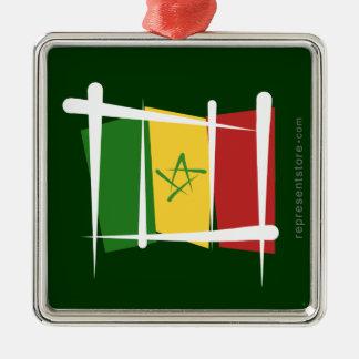 Senegal borstar flagga julgransprydnad metall
