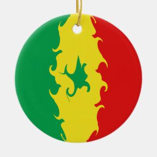 Senegal Gnarly flagga Julgransprydnad Keramik