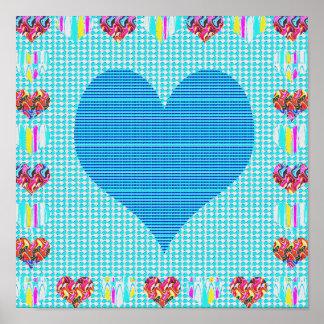Sensuell söt blåtthjärta+Konstnärlig abstrakt för Poster