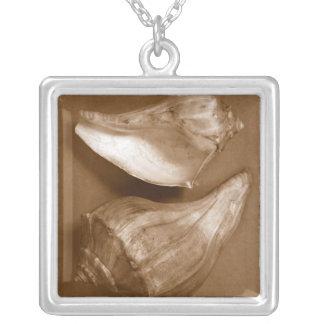 Sensuella snäckor silverpläterat halsband