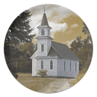 Sepia för flodstrandpresbyterianskaa kyrkan1800s tallrik