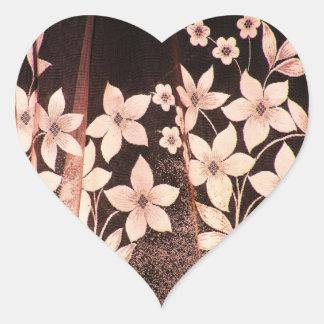 Sepiablommasnöre Hjärtformade Klistermärken