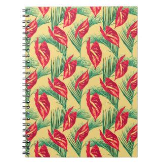 Serie 4 för mönster för tropiska löv för pop anteckningsbok
