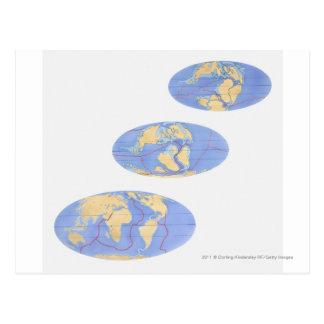 Serie av illustrationer av jord vykort