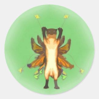 Serie en Fae kattungeklistermärke 3 av 6 Runt Klistermärke