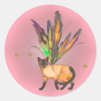 Serie en Fae kattungeklistermärke 6 av 6 Runt Klistermärke