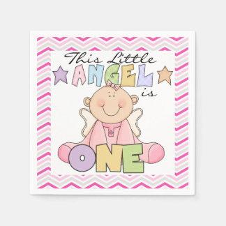 Servetter för 1st födelsedag för ängelflicka