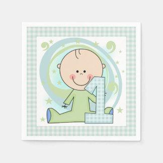 Servetter för 1st födelsedag för blåttGinghampojke