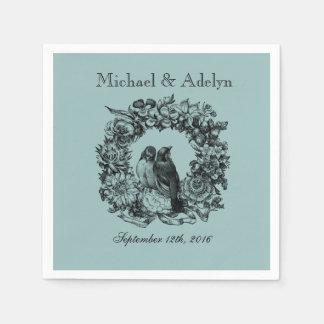 Servetter för bröllop för personliglove birdskran