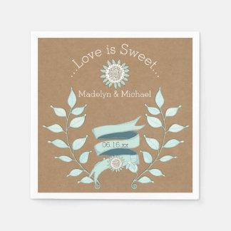 Servetter för papper för bröllop för Kraft