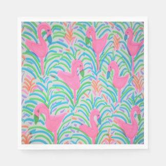 Servetter för papper för Flamingodjungelparty