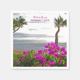 Servetter för papper för Maui strandbröllop