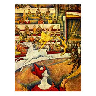 seuratmålning - cirkusen vykort