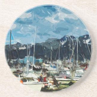 Seward Alaska Habor abstrakt Impressionism Dryck Underlägg