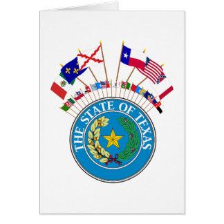 Sex flaggor av Texas med annan historisk flaggor Hälsningskort