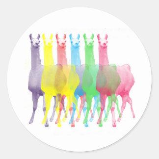 sex lamas i sex llamafärger runt klistermärke