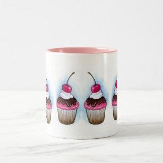 Sex muffins: Rosor, chokladisläggning & körsbär Två-Tonad Mugg