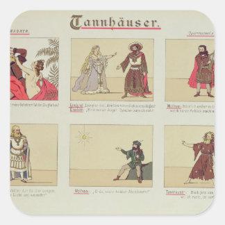 Sex platser som förbinder till operan 'Tannhauser Fyrkantiga Klistermärken