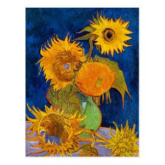 Sex solrosor av Van Gogh Vykort