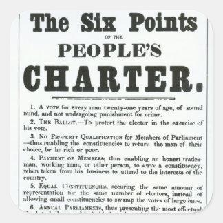 Sexen pekar av folkets charter fyrkantigt klistermärke
