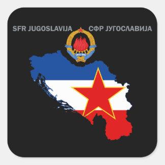 SFR Jugoslavien - karta - Emblem - Fyrkantigt Klistermärke