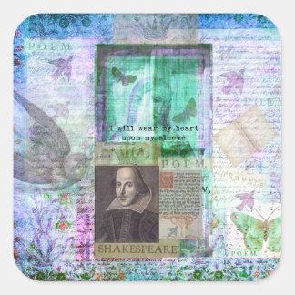 Shakespeare nyckfullt KÄRLEKcitationstecken Fyrkantigt Klistermärke