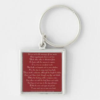 Shakespeares sonett 116 kvadrerar Keychain Fyrkantig Silverfärgad Nyckelring