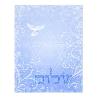 Shalom duvablått virvlar runt papper 8.5x11 brevhuvud