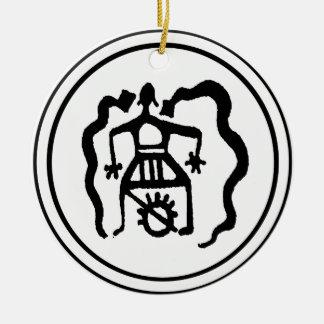 Shamanen & den släkt- anden vägleder julgransprydnad keramik