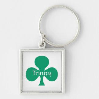 Shamrock för gåvaKeychain St Patrick symbolisk Fyrkantig Silverfärgad Nyckelring