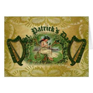 Shamrock- & irländareharpavälsignelse - kort 2B