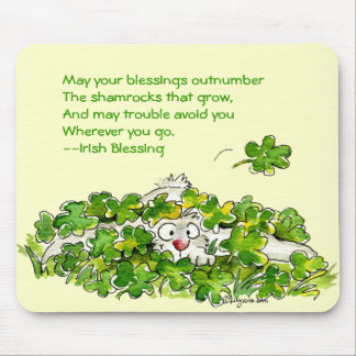 Shamrock som välsignar dagen Mousepads för St. Musmatta