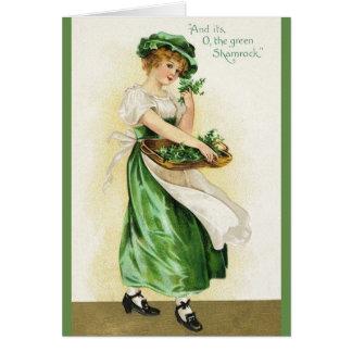ShamrockSts Patrick för vintage irländskt kort för