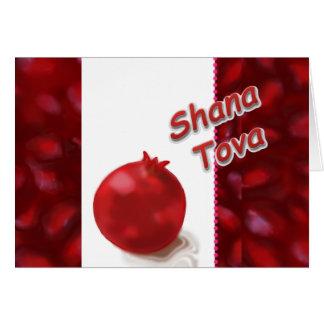 Shana Tova - röd Pomegranate - hälsningkort Hälsningskort