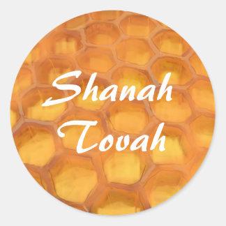 Shanah Tovah honungskakateckning lyckliga Rosh Runt Klistermärke