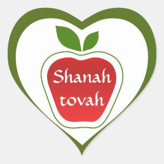 Shanah Tovah Rosh Hashanah judiskt nytt år Hjärtformat Klistermärke