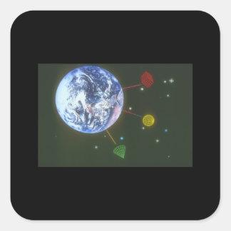 Shapar över jord. (earth_Spaceplatser Fyrkantigt Klistermärke