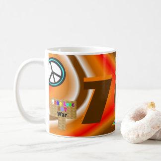 Sharnias mugg för 70-tal färgad bakgrund för `'