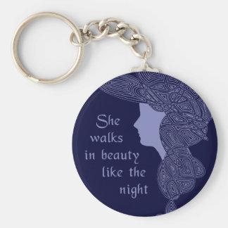 She Walks in Beauty Keychain Rund Nyckelring