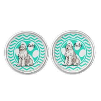 Sheepdog; Grön sparre för Aqua Manschettknappar
