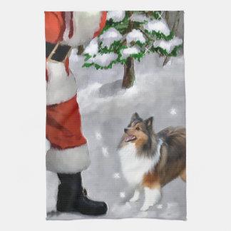 Sheltie för Shetland Sheepdog jul Kökshandduk