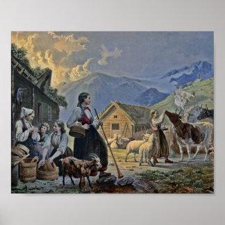 Shepherdesss koja på berg poster