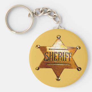 Sheriff emblemsolbränna Keychain (i 3 stilar) Rund Nyckelring