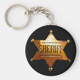 Sheriff emblemsvart Keychain (i 3 stilar) Rund Nyckelring