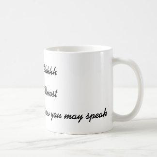 Shh nu kan du tala den roliga kaffemuggen vit mugg