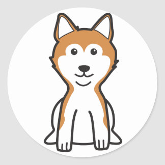 Shiba Inu hundtecknad Runt Klistermärke