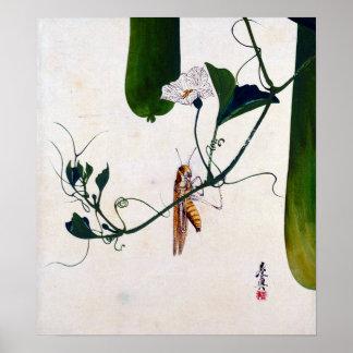 Shibata Zeshin gräshoppa på kalebassVine Poster