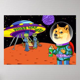 Shibe Doge Astro och tecknaden för Poster